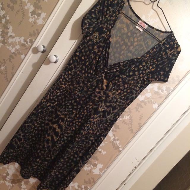 Leona Edmiston Leopard Print Dress Size 10 (1)