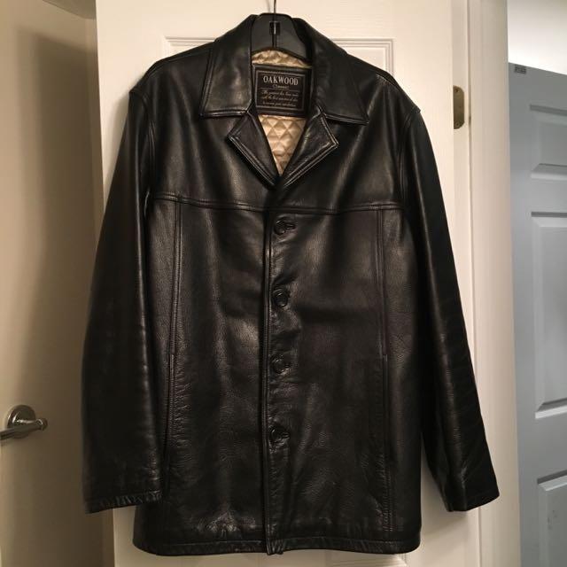 Men's black cow hide leather coat