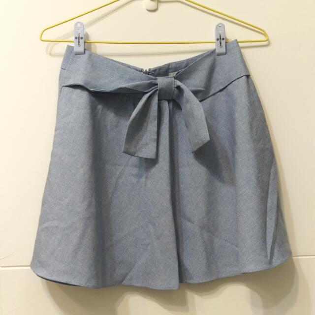 MIXXO 淺藍蝴蝶結後拉鍊A字短裙