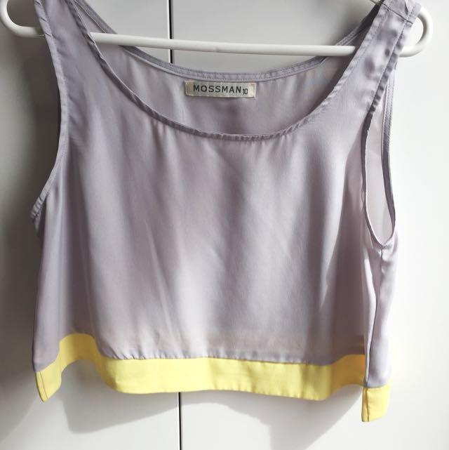 Mossman Grey Yellow Colour Block Crop Top