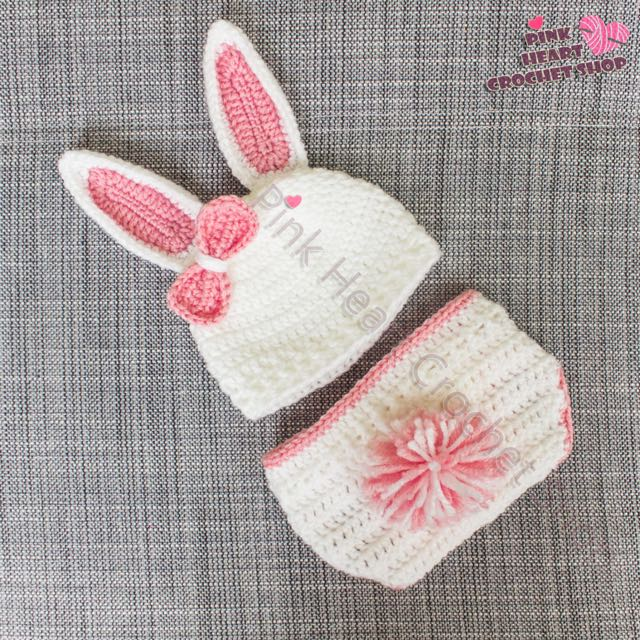 New crochet baby white and pink bunny outfit