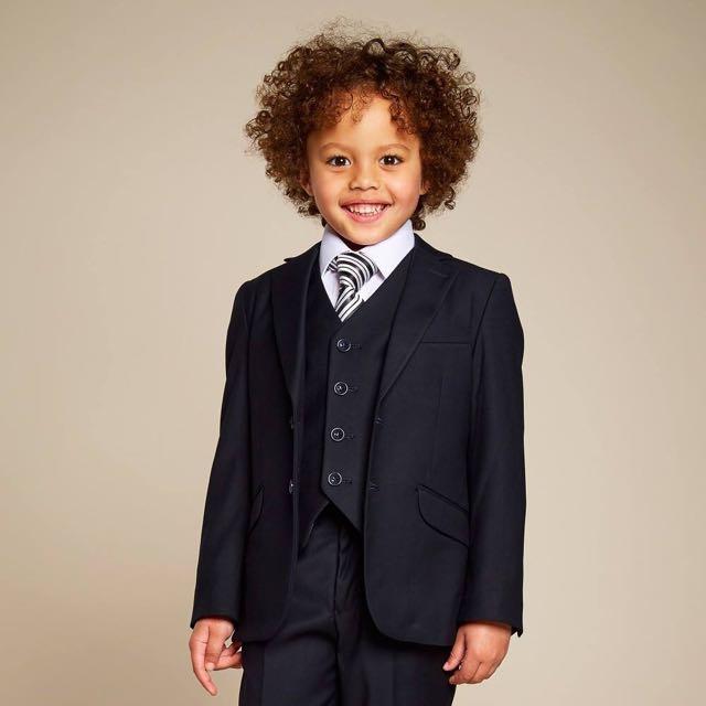 NWT SZ 3 KIDS BOYS 3 PIECE CHILDRENSALON ROMANO BLACK TUXEDO