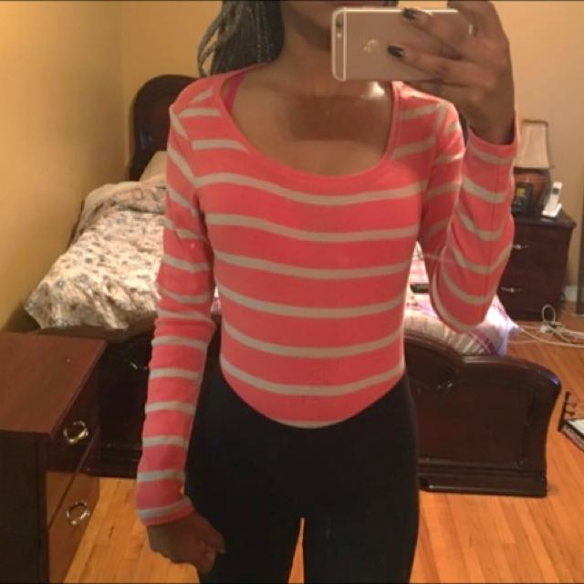 Old Navy Coral Striped Shirt
