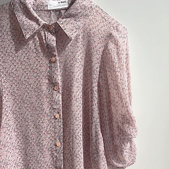 Pink Floral Sheer Buttoned Top