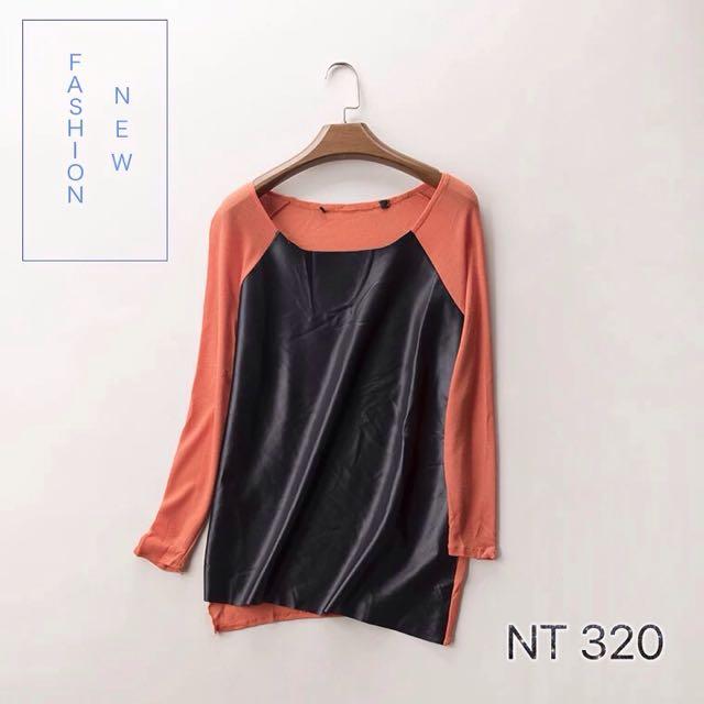 混紡針織拼接pu皮貭上衣/橘色