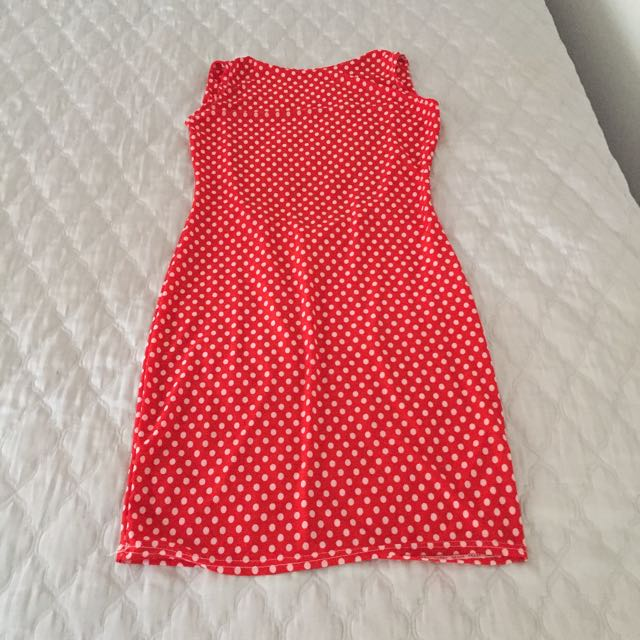 Red And White Polka Dot Dress Size m