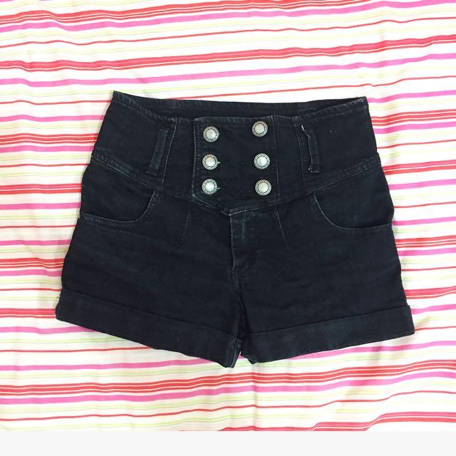 Size 8 Black High Waisted Denim Shorts