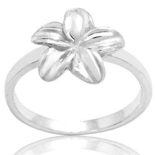 Solid Sterling Silver Plumeria Flower Ring