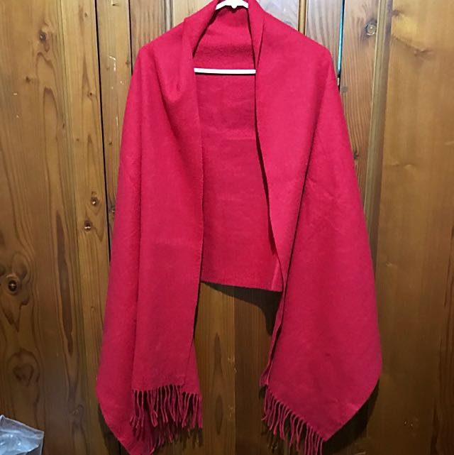 Super Sized Red Wool Scarf