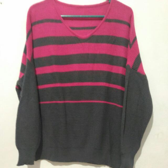 Sweater Rajut Pink - Abu