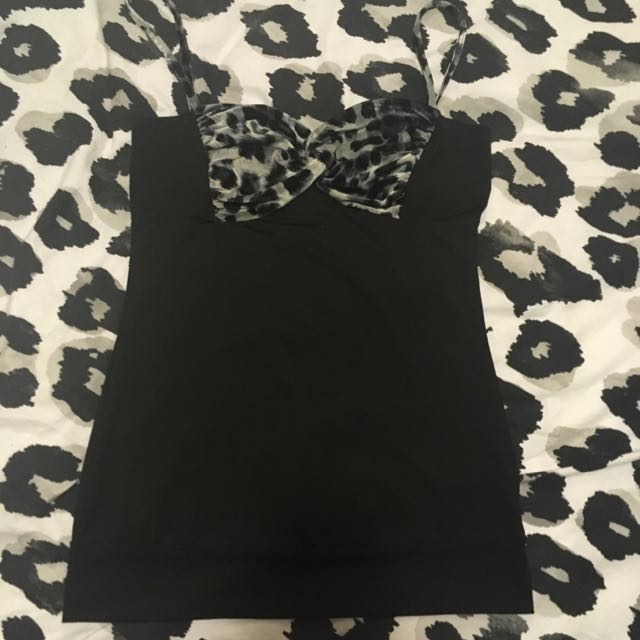Valley girl Black/Leopard Print Singlet