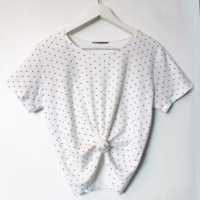 Vintage Polka Dot Crop Shirt