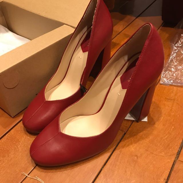 Zara 真皮高跟鞋 紅色