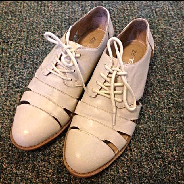 Zensu Women Shoes Ivory Leather With Lace