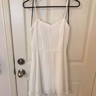 White Detailed Back Short Dress