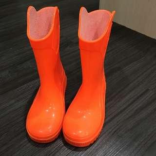 正品juju兒童雨鞋-亮橘10號