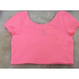 H&m Crop Top In Neon Pink