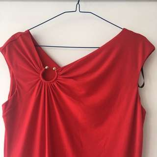 Calvin Klein Red Dress With V-neck