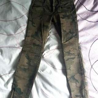 Zara Camo Skinny Zip Jeans