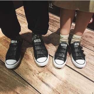 正品CONVERSE CHUCK TAYLOR ALL STAR BLACK 皮革款 魔鬼氈帆布鞋 潮流滑板街頭日系混搭