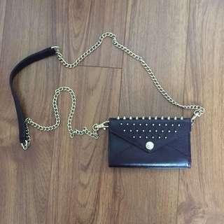 Rebecca Minkoff Leather Studded Chain Crossbody Bag Purple