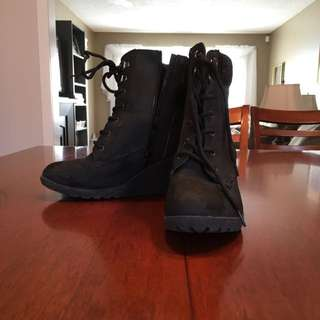 Black Combat Boots With A Wedge