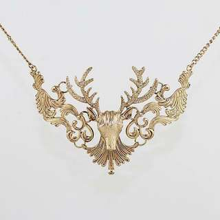Large Reindeer Gold Necklace