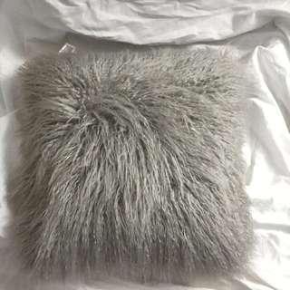 Furry Light Grey Stylish Throw Pillow