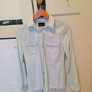 Light Denim Shirt With Polka Dots