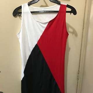 Tri-color Block Dress Or Long Top