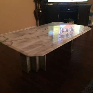 Solid Marble White And Stainless Steel Coffee Table Set