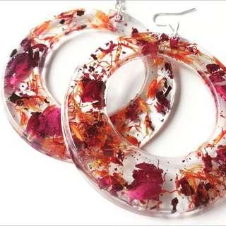 Handmade Flower Resin Hoop Earrings