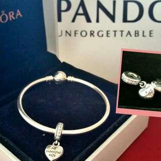 Authentic Pandora bangle & charm
