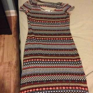 Multi-coloured patterned dress