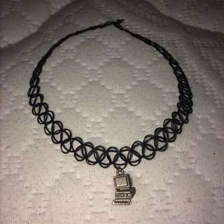 Black Tattoo Choker With Computer Charm