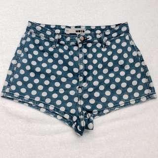 TOPSHOP Polka Moto Shorts