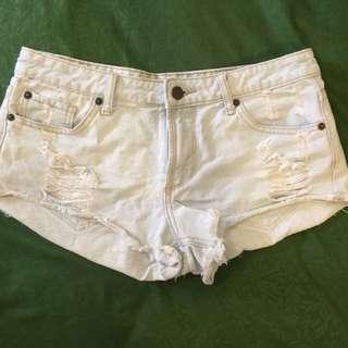 Forever 21 Light Wash Ripped Denim Shorts