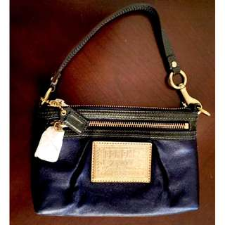 Unused COACH Poppy Wristlet Mini Handbag - Coated Leather