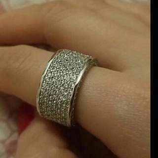 Hand Made Solid 250pc Simulated Diamond 10kt White Gold Filled Topaz Pave Ring RRP $270