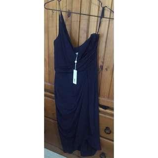 Zimmerman Navy Silk One Shoulder Dress