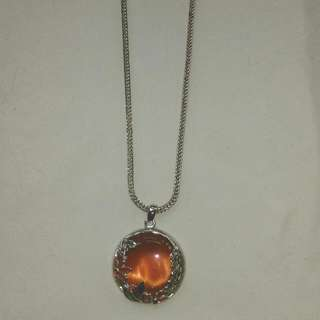 Fire Orange Pendant Necklace