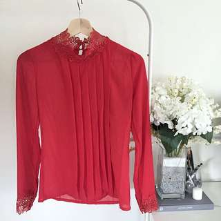 Classy Lace Red Blouse