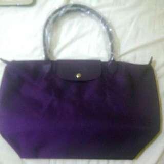 降價!全新Longchamp Le Pliage Neo 長提把水餃包-深紫色  絕對是正品 購至法國 可驗