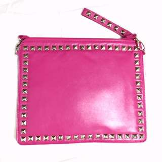 Pink Studded Bag Clutch Purse