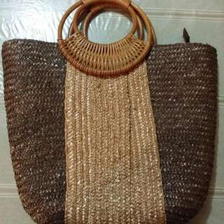 New Woven Straw Retro Style Bag With Cane Handle