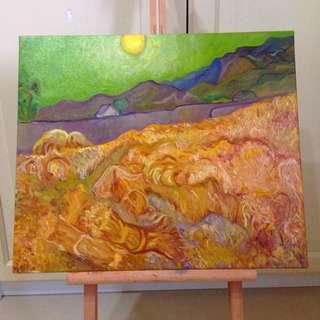 梵谷風景油畫布 | 居家裝飾 咖啡廳 油畫 畫布 壁飾 Zakka 藝術油畫 麥田 風景畫