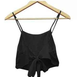 Black Knot Backless Sexy Halter Tie Crop