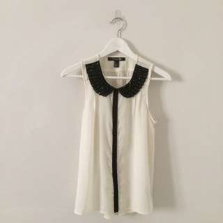 F21 Collar Top With Artificial Jewel