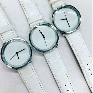 minimalist white watch