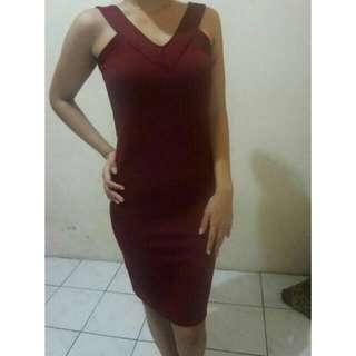 Dress Merah Maroon All Size